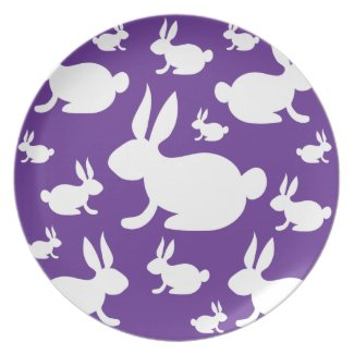 Purple Bunny Pattern Dinner Plate