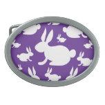 Purple Bunny Pattern Oval Belt Buckles