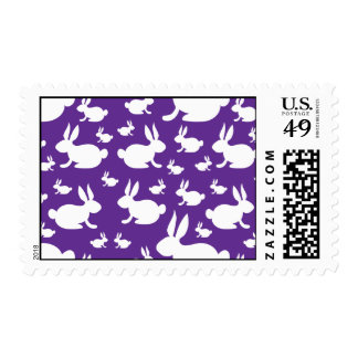 Purple Bunny Pattern Postage Stamps