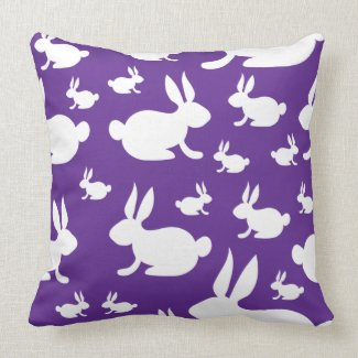 Purple Bunny Pattern Throw Pillows