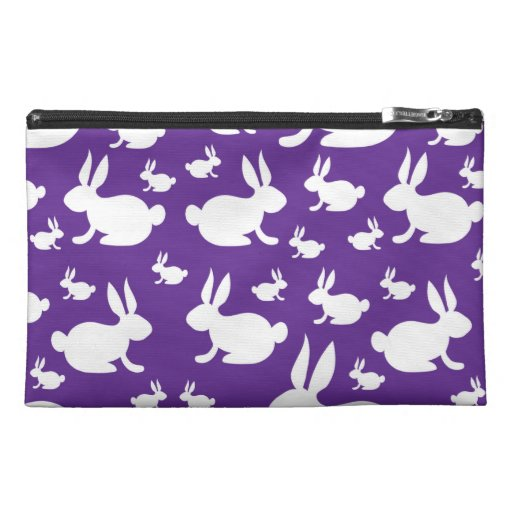 Purple Bunny Pattern Travel Accessory Bags