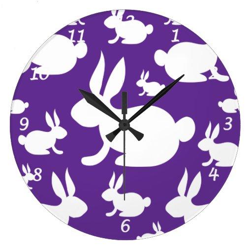 Purple Bunny Pattern Wallclocks