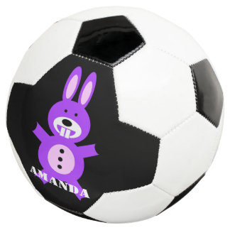 Purple bunny personalized soccer ball