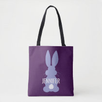 Purple Bunny Silhouette Easter Personalized Girls Tote Bag
