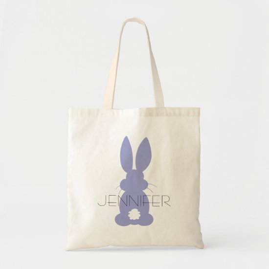Purple Bunny Silhouette Easter Personalized Tote Bag
