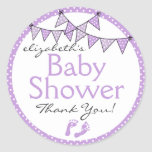 Purple Bunting and Polka Dots Classic Round Sticker