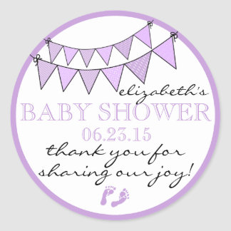 Purple Bunting Flags Baby Shower Thank You Classic Round Sticker