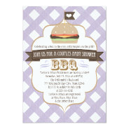 "Purple Burger Couples BBQ Baby Shower Invitations 5"" X 7"" Invitation Card at Zazzle"