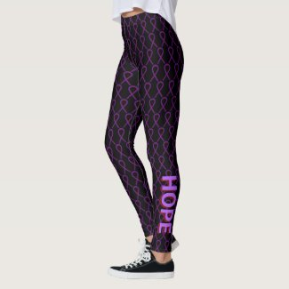 Purple & Burgundy Awareness Ribbon Custom Leggings