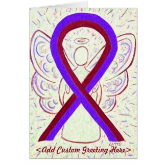 Purple & Burgundy Awareness Ribbon Greeting Card