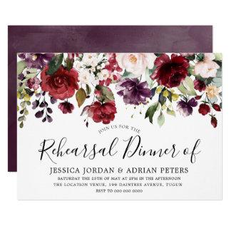Purple Burgundy Red Blush Floral Rehearsal Dinner Invitation