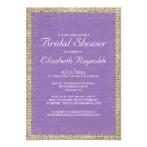 Purple Burlap Bridal Shower Invitations Card