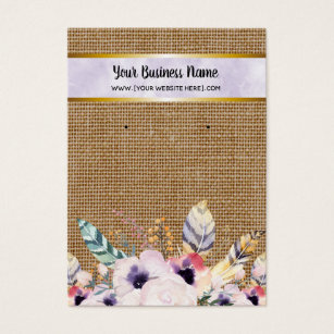 Purple Burlap Flowers Boho Earring Display Cards