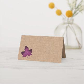 Purple Burlap Folded Place Cards