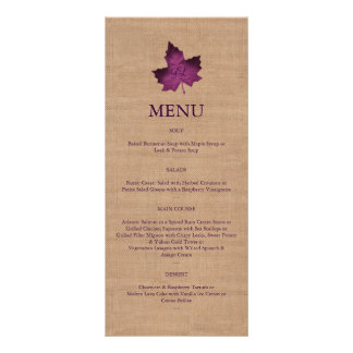 Purple Burlap Monogrammed Menu Customized Rack Card