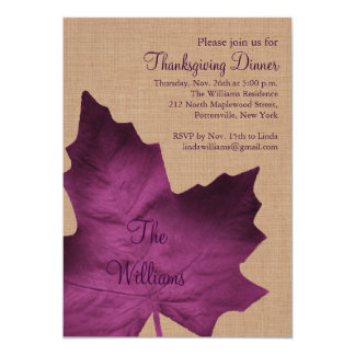 Purple Burlap Thanksgiving Dinner Invitation