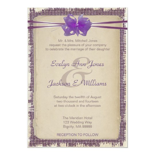 Purple Burlap Wedding Invitation PBSF