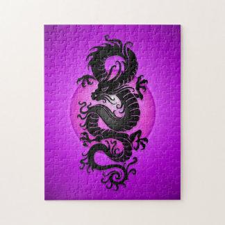 Purple Burst Chinese Dragon Jigsaw Puzzle