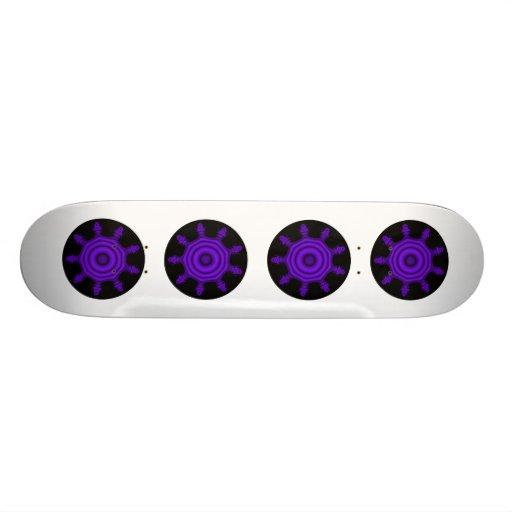 Purple Burst. Fractal Art. Purple and Black. Custom Skateboard