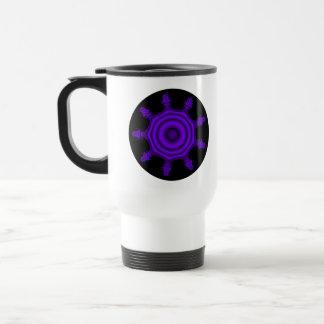Purple Burst. Fractal Art. Purple and Black. Travel Mug