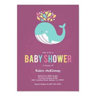 Purple Bursting Whale Baby Shower Invitation