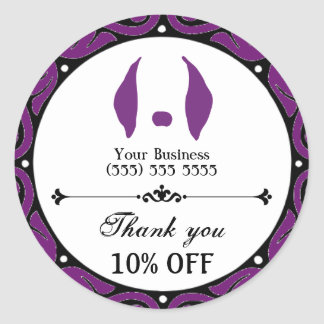 Purple Business Sticker. Promote, Sale, and Refer! Classic Round Sticker