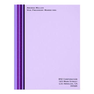 Purple Business Stripes Letterhead