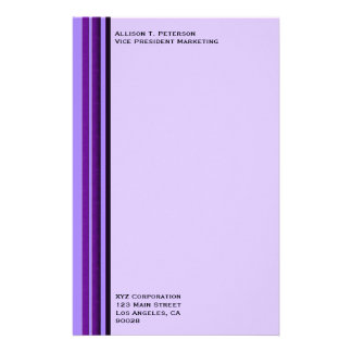 Purple Business Stripes Stationery