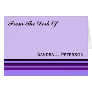 Purple Business Stripes Stationery Note Card