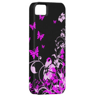 Purple Butterflies and Flowers iPhone SE/5/5s Case