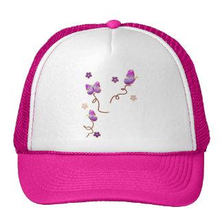 Purple Butterflies and Flowers Trucker Hat