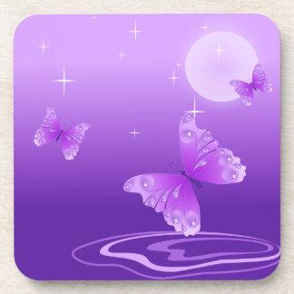 Purple Butterflies Beverage Coaster