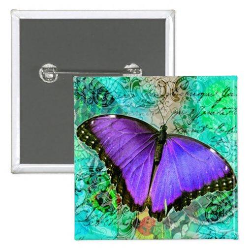 Purple Butterflies Button