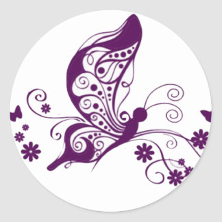 Purple Butterflies Classic Round Sticker