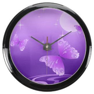 Purple Butterflies Fish Tank Clock