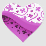 Purple Butterflies Heart Sticker