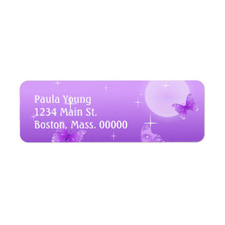 Purple Butterflies Label