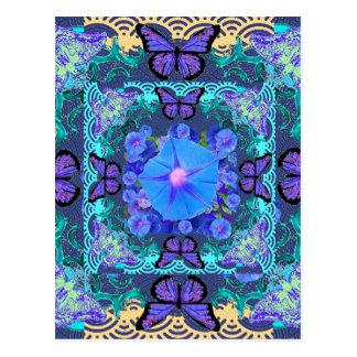 Purple Butterflies Lace Floral Gifts Postcard