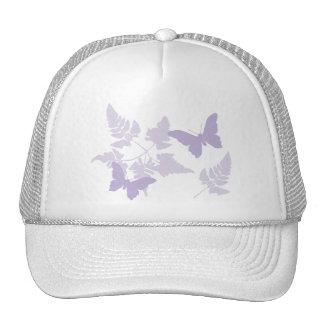 Purple Butterflies Lavender Ferns Mesh Hats