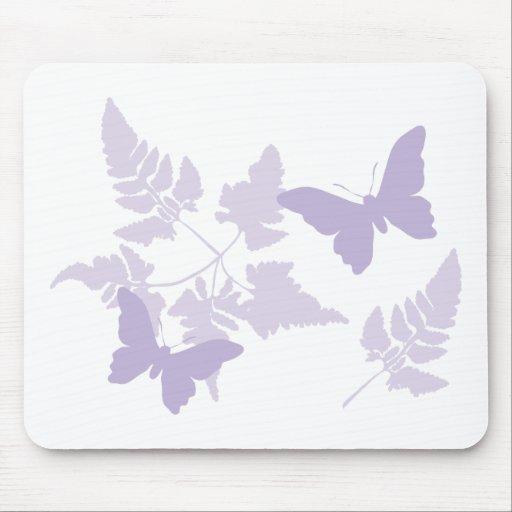 Purple Butterflies Lavender Ferns Mouse Pad