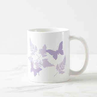 Purple Butterflies Lavender Ferns Mug