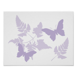 Purple Butterflies Lavender Ferns Posters