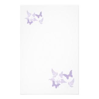 Purple Butterflies Lavender Ferns Stationery