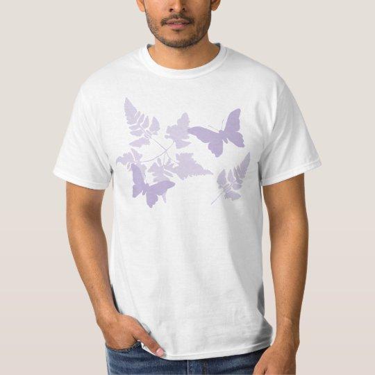 Purple Butterflies Lavender Ferns T-Shirt