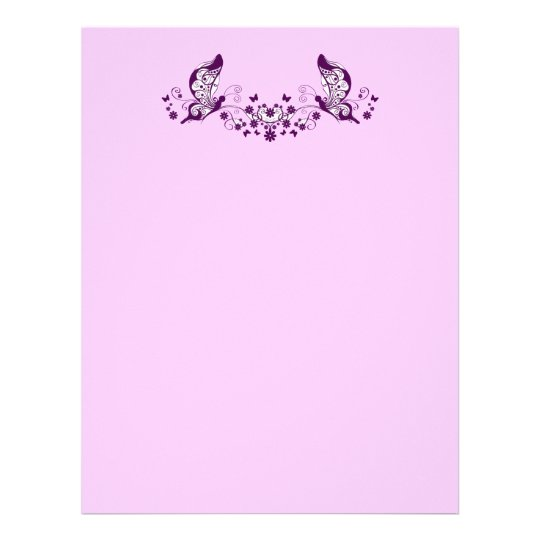 Purple Butterflies Letterhead