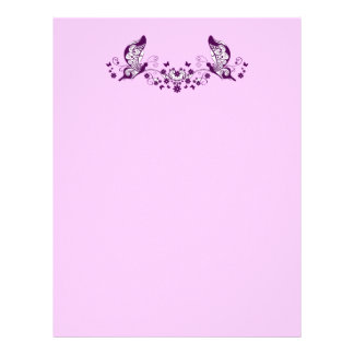 Purple Butterflies Letterhead Template