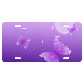 Purple Butterflies License Plate