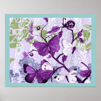 Purple Butterflies on a Branch Poster