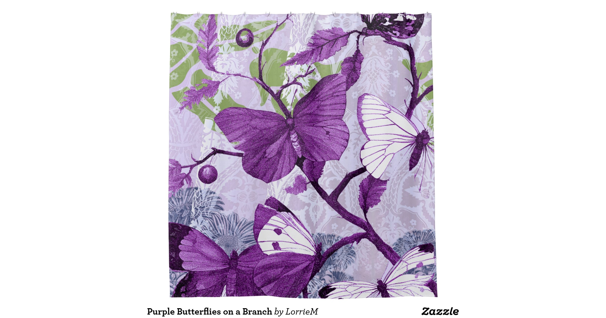 Purple Butterflies On A Branch Shower Curtain Zazzle