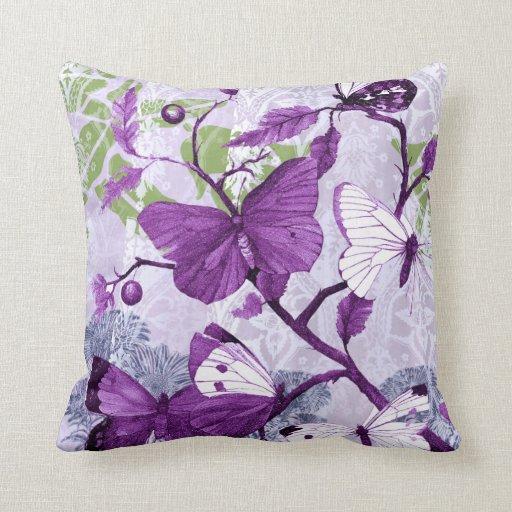 Purple Butterflies on a Branch Throw Pillow